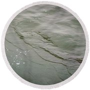 Waves On The Ice Round Beach Towel