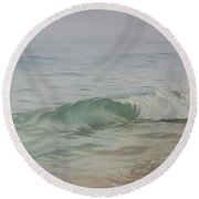 Waves Out Of The Fog Round Beach Towel