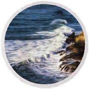 Waves Rocks And Birds Round Beach Towel