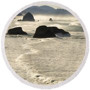 Waves Roll Ashore On The Oregon Coast Round Beach Towel
