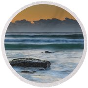 Waves Rolling In At Sunrise Round Beach Towel
