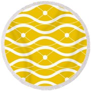 Waves With Border In Mustard Round Beach Towel