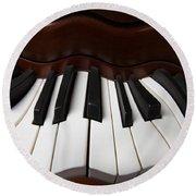 Wavey Piano Keys Round Beach Towel