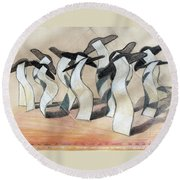 Wavey Square Orchard Round Beach Towel