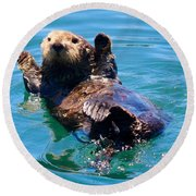 Waving Otter Round Beach Towel