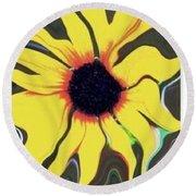 Waving Sunflower Round Beach Towel