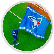 Waving The Flag For The Home Team      The Toronto Blue Jays Round Beach Towel