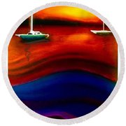 Wavy Bay  Round Beach Towel