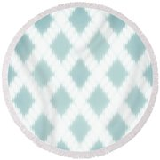 Wavy Light Teal Braids Round Beach Towel