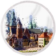 Wawel Castle Cracow Round Beach Towel