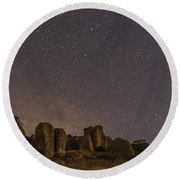 Waxing Moon Above The City Of Rocks Round Beach Towel
