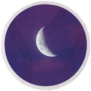Waxing Moon In Pink Clouds Round Beach Towel