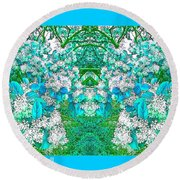 Waxleaf Privet Blooms In Aqua Hue Abstract With Aqua Frame Round Beach Towel