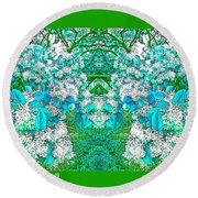 Waxleaf Privet Blooms In Aqua Hue Abstract With Green Frame Round Beach Towel