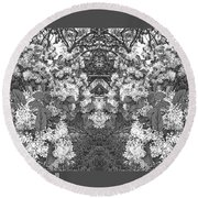 Waxleaf Privet Blooms In Black And White Abstract Poster Round Beach Towel