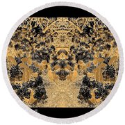 Waxleaf Privet Blooms In Black And White - Color Invert With Golden Tones Abstract Round Beach Towel