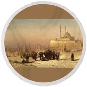 Way Between Old And New Cairo Round Beach Towel