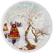 Way From The Church, Jozef Theodor Mousson, 1931 Round Beach Towel