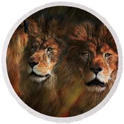 Way Of The Lion Round Beach Towel