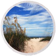 Way Out To The Beach Round Beach Towel