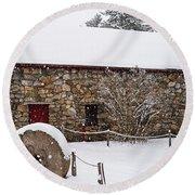 Wayside Inn Grist Mill Covered In Snow Millstone Round Beach Towel