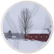 Wayside Inn Grist Mill Covered In Snow Storm 2 Round Beach Towel