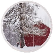 Wayside Inn Red Barn Covered In Snow Storm Reflection Round Beach Towel