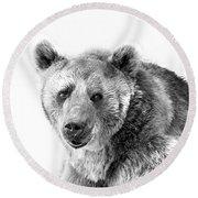 Wb Portrait Of A Bear Round Beach Towel