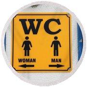 Wc Sign, Croatia Round Beach Towel