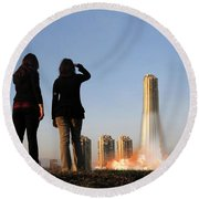 We Have Lift-off Round Beach Towel