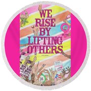 We Rise Round Beach Towel
