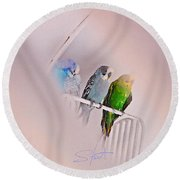 We Three Birds Round Beach Towel