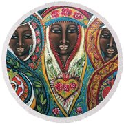 We Three Queens Of Orient Are Round Beach Towel
