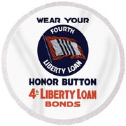 Wear Your Honor Button Round Beach Towel