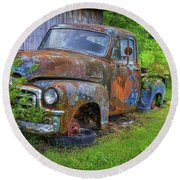 Wears Valley 1954 Gmc Wears Valley Tennessee Art Round Beach Towel