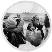 Weary Vietnamese Refugees Round Beach Towel