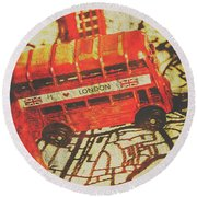 Weathered Bus Routes Round Beach Towel