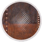 Weathered Metal Rivets Round Beach Towel