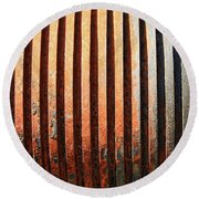 Weathered Metal With Rows Round Beach Towel