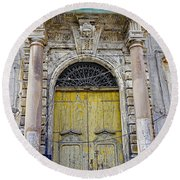Weathered Old Artistic Door On A Building In Palermo Sicily Round Beach Towel