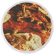 Weathered Scorpion Art Round Beach Towel