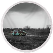 Weathered - Old Car In Texas Field Round Beach Towel