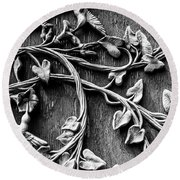Weathered Wall Art In Black And White Round Beach Towel