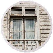Weathered Window Balcony Round Beach Towel