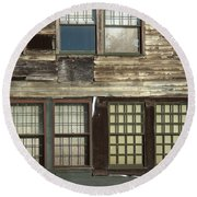 Weathered Windows Round Beach Towel