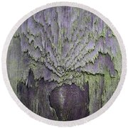 Weathered Wood And Lichen Abstract Round Beach Towel