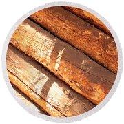 Weathered Wood Log Cabin Round Beach Towel