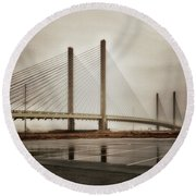 Weathering Weather At The Indian River Inlet Bridge Round Beach Towel