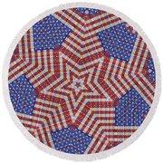 Weave A Star And Rainbow Round Beach Towel