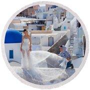 Wedding At Santorini Round Beach Towel